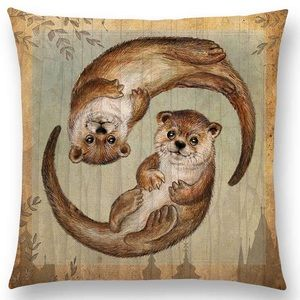 Other - Pillow Cover - New- Cute Otters Swimming